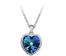 Wholesale Ocean Heart Sets - 925 Silver Plate Gemstone Amethyst Classic Zircon Titanic Ocean Heart Dark Blue Crystal Heart Necklaces with curbs