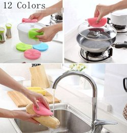 Wholesale Toilet Bowl Cleaning Brush - Magic Silicone Cleaning Brushes Scouring Pad Pot Pan Wash Brushes Dish Bowl Cleaner Kitchen Cleaning Tools 12 Colors YW245