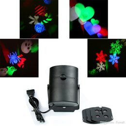 Wholesale Shape Heart Pattern - 4PCS Switchable Pattern Lens Wall Lamp Led Projector Laser Light Snowflake Heart-shaped Candy Skull Halloween Christmas Decoration Light