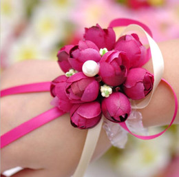 Wholesale Wrist Corsage Pink - 2017 Real 8cm Boutonnieres Wedding Prom Wrist Corsage With Bracelet Bride Flowers Decorative Flowers wreaths Free Shipping HJIA198