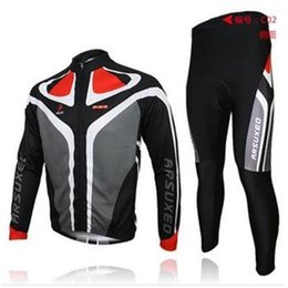 Wholesale Long Sleeve Padded Shirts - 2014 arsuxeo mens cycling clothing bike sets bicycle long sleeves jersey shirts pants wear suits uniforms top .3D BIB PADDED C