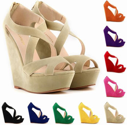 Wholesale Green High Wedges - High quality 2016Heels Platform fish mouth Pumps Women's Shoes big yards heels waterproof Taiwan wedges nightclub hollow out women's sandals