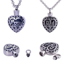 Wholesale Urn Funeral - Fashion Stainless Steel Mom & Dad in Heart Pendant Bead Chains Necklace Urn Keepsake Jewelry Memorials Funeral Openable Put In Ash