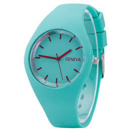 Wholesale Geneva Candy Watches - 12 colors New Fashion Watch Women Silicone GENEVA candy color Watch For Women Dress Watch Quartz Watches