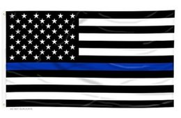 Wholesale Police Flags - 90*150cm BlueLine USA Police Flags 3x5 Foot Thin Blue Line USA Flag Black, White And Blue American Flag With Brass Grommets
