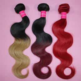 Wholesale Virgin Blue - 7A Ombre virgin hair bundles Brazilian Body Wave Human Hair Weave Two Tone Weft 1B Brown Bloned Red Blue Purple Peruvian cheap ombre hair