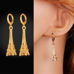 Wholesale Eiffel Earrings - U7 Eiffel Tower Drop Earrings AAA+ Cubic Zirconia 18K Real Gold Plated Fashion Women Jewelry Dangle Earrings Perfect Party Gift for Women