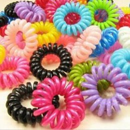 Wholesale Elastic Rubber Cords - 100pcs Rubber Band Tie Women Hairband Girl Headband Telephone Cord Elastic Ponytail Holders Hair Ring Scrunchies For Girl