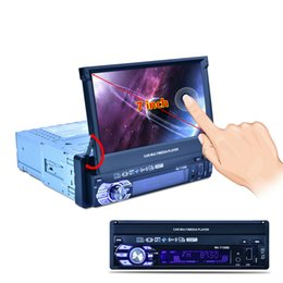 Wholesale Touch Screen Car Media Player - 2PCS Car Radio Media Player Vehicle-Mounted Full Auto Retractable Screen MP5  MP4   MP3 GPS AIO Machine RK-7158G