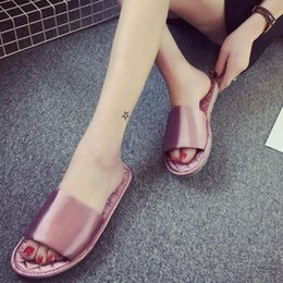 Wholesale Ladies Home Slippers - 2017 Womens Ladies Fashion Silks Satin Home Slippers Summer Flat Flip Flops Trendy Sandals Shoes