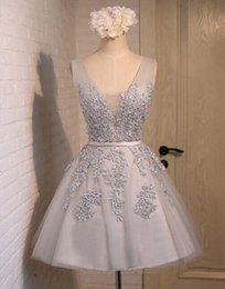 Wholesale Grey V Neck Cocktail Dress - Vintage Grey Short Prom Dresses With Lace Applique Satin Belt V Neck Corset Back Cheap Custom Made Mini Party Cocktail Dresses 2016