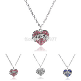 "Wholesale Wholesale Nurse Gifts - Wholesale-2015 Fashion Letter ""Nurse"" Pendant Crystal Heart Nurse White Angel Necklace For Women Halloween Charms Gift Wholesale Retail"