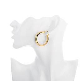 Wholesale Wholesale Wide Hoop Earrings - 3.4X0.7CM Wide Hoop women styles circles earrings golden e065 Fashion 2016 New Jewelry wholesale mixed