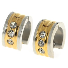 Wholesale Wholesale Round Earrings - 316L Stainless Steel Zircon Shiny Hoop Earrings For Women Jewelry 7MM Round Huggies For Men High Quality Free