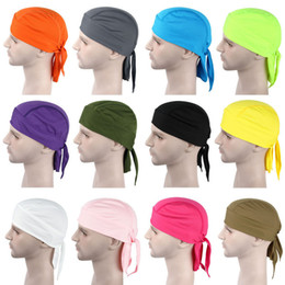 Wholesale Tie Dye Bandana Wholesale - NEW BANDANA DOO RAG breathable mesh Do Du rag Unisex Fitted Solid Tied head wrap Motorcycle Skull Cap Men
