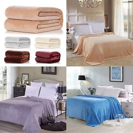 Wholesale Plush Sofas - Wholesale- AU Super Soft Warm Solid Warm Micro Plush Blanket Throw Sofa Bedding Blanket