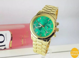 Wholesale Watches For Couples - 2016 Luxury Quality Quartz Gold Watch For Women Men Couples watch Calendar Green Dial Earth Series Hours Full Stainless Steel wrist watch