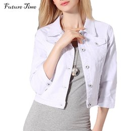 Wholesale Denim Jacket Women Short Jeans Overcoat Ladies Jacket Turn Down Collar Slim White Black Jeans Top For Women High Quality CC182