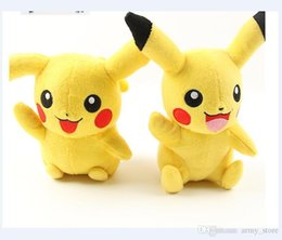 Wholesale Soft Toy Drop Shipping - (20cm size) Poke monster Go Soft material Cartoon Pikachu Plush Toys Xmas Gifts Yellow Color Stuffed Animals Toy Drop Shipping