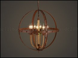 Wholesale Rope Light Chandelier - European American Round Spherical Retro Living Room Restaurant Bar Iron Candle Chandelier Rope Globe Hall Pendant Lamp Lighting LLWA180