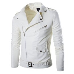 Wholesale Coloured Leather Jackets - Wholesale- New Mens white colour Lether Jackets Coat Autumn Masculinas Inverno PU Jacket Jaquetas De Couro Motorcycle Leather Jacket
