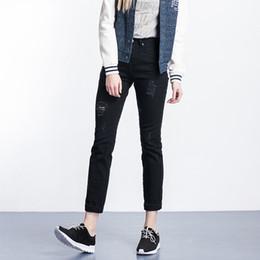 Wholesale White Cut Out Jeans - S- 6XL 2016 fashion black white plus size women cotton denim ripped hole straight cut out slim pants jeans