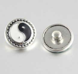 Wholesale Rings Tai Chi - 2016 Rtro 18MM Snaps Chunk Charm Button Tai Chi Alloy Snap Button Fit For Diy Jewelry Noosa Leather Bracelets