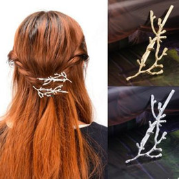 Wholesale Jewerly Clips - wholesale hair clips 2016 All-match Brief Women Gold Silver Plated Hair Jewerly Brand New Vintage Alloy Branch Barrette Drop Shipping SHR432