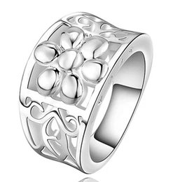 Wholesale Top Beautiful Rings - 925 Sterling Silver Flower Rings For Woman Top Quality Beautiful Design Fashion Party Christmas Gift New