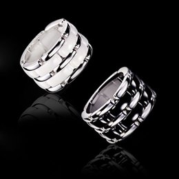 Wholesale Rings 11 Titanium - Luxury Black White Double row Ceramic Chain Style Rings, Platinum Plated Titanium Stainless steel Women Men Jewelry---Size 5 To 11