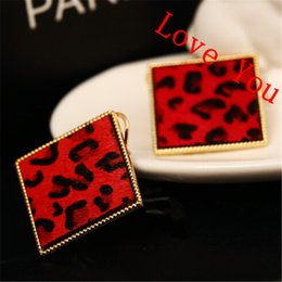 Wholesale Leopard Studs - Red Square Leopard Stud Earrings for Women Gold pLated Jewelry Vintage Accessories