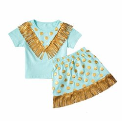 Wholesale Blue Dot Skirt Girls - Baby Girls Tassel Sets 2016 New Kids Girl Polka Dot Print T-shirt + Tassel Skirt 2pcs Suits Princess Outfits Children Clothing TL176-33