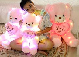 Wholesale Hugging Pillows - Plush toy bear light Tactic Teddy bear toy bear doll size pillow birt hday girls hug Light pillow cute doll oversized lovers 50cm