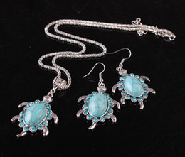 Wholesale Turtles Earrings - Earrings necklace set fashion turquoise necklace earrings vintage little turtle earrings necklace for women jewelry set X569