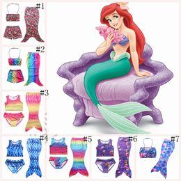 Wholesale Girls Rainbow Swimwear - Girls Rainbow Mermaid Tail Bikini Swimsuits Bathing Suits Kids Costume Cosplay Suits Swimmable Swimwear Beach Wear 7 styles OOA305
