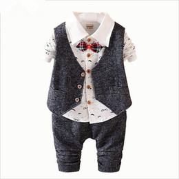 Wholesale 5t Pant Vest Set - 2016 New Spring 3PCS Kids Clothes Boys Baby Clothing Sets Vest Shirt Pants Toddler Boys Clothes Set Wedding Outfits Birthday