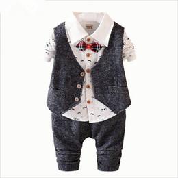Wholesale Boys Cotton Shirt Wedding - 2016 New Spring 3PCS Kids Clothes Boys Baby Clothing Sets Vest Shirt Pants Toddler Boys Clothes Set Wedding Outfits Birthday