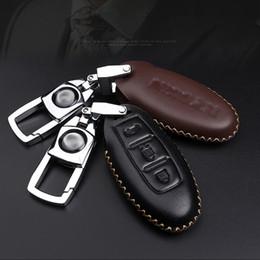 Wholesale Keychain Nissan - Genuine Leather Car Key Case Men Waist Hanging Keychain Auto Smart Key Protect Cover For Nissan X-TRAIL SYLPHY TEANA QASHQAI TIIDA