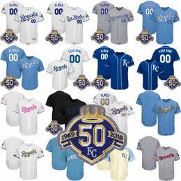 Wholesale Cool Cities - Custom 1969-2018 50Th Season Patch Men's Kansas City Baseball Jerseys Stitched any Name Any Number Flex Base Cool Base Jerseys