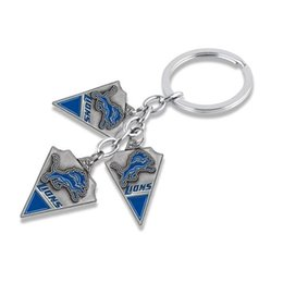 Wholesale Especially Man - Favorable price zinc alloy enamel blue spike The Lions team logo keyfinder especially for young men
