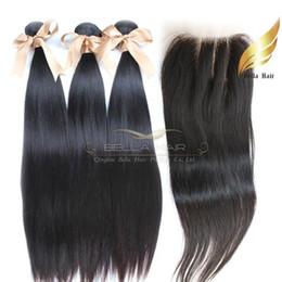 Tramas de pelo recto sedoso online-Tramas de cabello humano con cierre de encaje 3 partes de cabello brasileño, sedoso, recto, color natural, 8-34 pulgadas, envío libre Bellahair