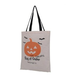 Wholesale Large Christmas Candy Decorations - Large Cotton Canvas Hand Bags Pumpkin,Devil,Spider Printed Halloween Candy Gift Bags Gift Sack Bags