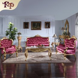 Wholesale Gilt Furniture - Italian classic living room furniture- European Classic sofa set with gold leaf gilding -Italian luxury classic sofa set