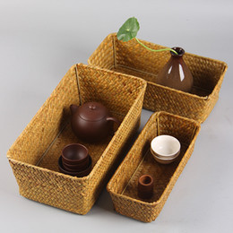 Wholesale Seaweed Made - hand made seaweed weave Storage Box Kung Fu Tea Accessories Jewelry Box groceries baskets all natural no paint unbroken