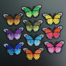 Wholesale Embroidery Butterfly Patch - 50pcs lot Butterfly Embroidery Patch Flower Appliques Iron On Patches For Clothes Bags Sew On Applique Clothing Accessory