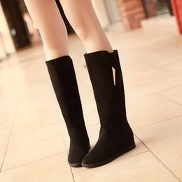 Wholesale Elevator Shoes New Arrivals - Boots Matte New arrival autumn and winter scrub female shoes elevator high-leg 40 41 42 high heel 2.5CM Wedges EUR Size 34-43