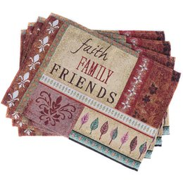 Wholesale Wholesale Western Fabrics - Wholesale- 1pcs Continental Faith Family Friends Pure Stripe Cotton Placemat Table Mat Fabric Western Pad Coasters Pads Dining Table Mat