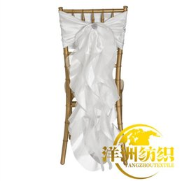 Wholesale Organza Decoration For Wedding Chair - Chair Sash for Weddings with Big 3D Bud silk Delicate Wedding Decorations Chair Covers Chair Sashes Wedding Accessories YS 8