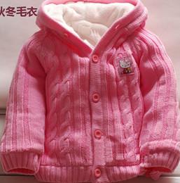Meninas de algodão orgânico on-line-Crianças roupas de bebê menina (2-5 T) algodão orgânico velo dentro casaco camisola com capuz vermelho e rosa cor atacado (4 pçs / lote) frete grátis