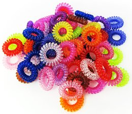 Wholesale Color Elastic Pony Tail Holder - 100pcs lot Women Children Transparent Hair Ropes Candy Color Telephone Line Hair Bands Rings Girls Hair Accessories Elastic Ponytail Holder